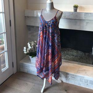 Japan Handkerchief Hem Vivid Printed Dress EUC!